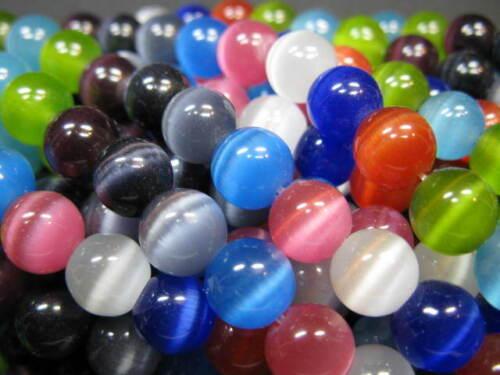 10 Cateye Perlen rund 8mm Farben Mix neu 2082