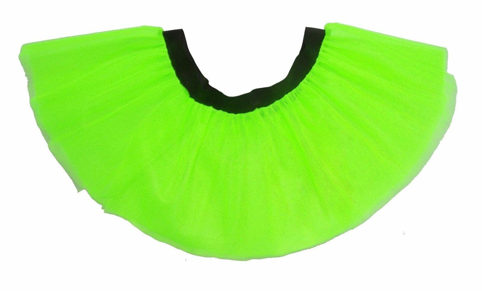BNWT CHILD GIRLS AGE 10 - 12 GREEN NEON PINK TUTU BALLET SKIRT 80S FANCY DRESS