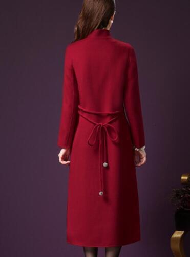 Women/'s Woolen Lapel Stand Collar Winter Warm Casual Outwear Coat Long Parka