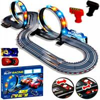 Large Remote Control Light Up Slot Car Racing Track Kids Toy Childrens Game Gift