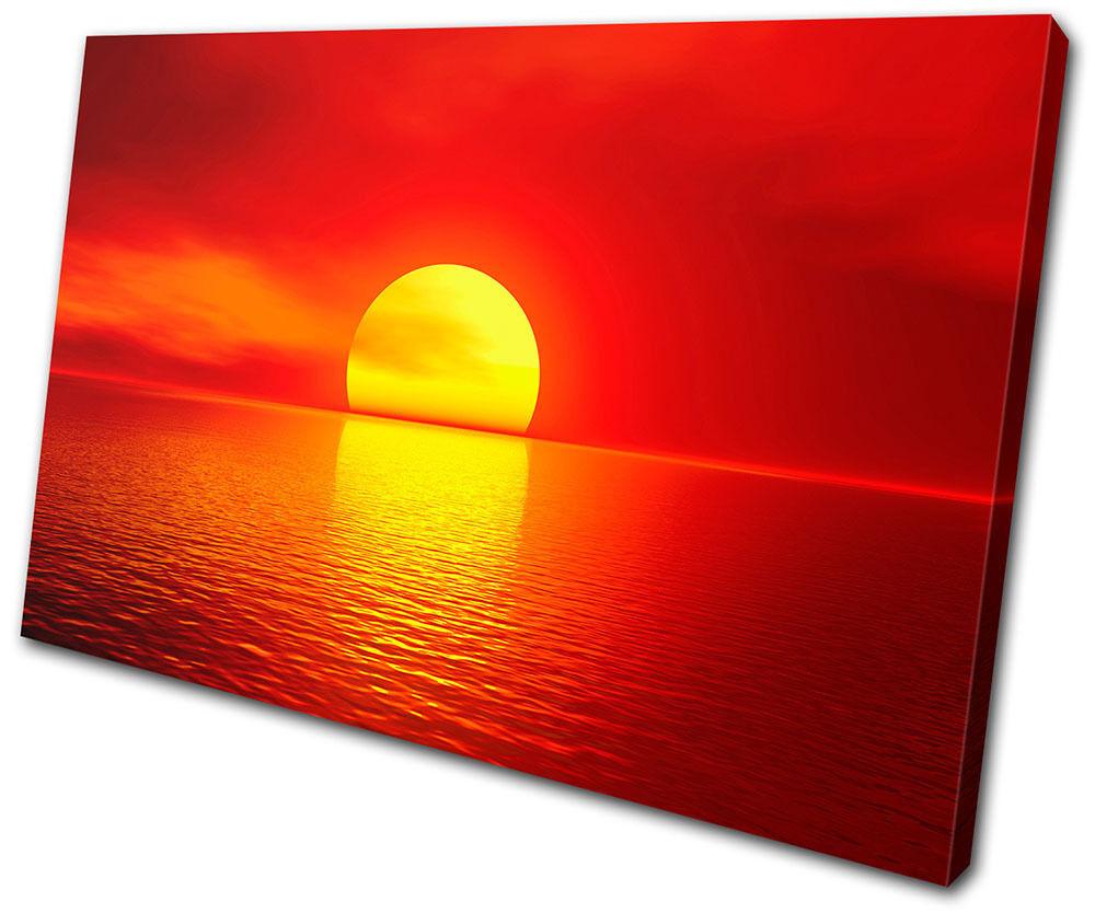 Sunset Seascape Stunning SINGLE TELA parete arte foto stampa stampa stampa 0fca17