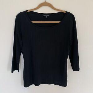 Eileen Fisher 100% Silk Jersey Black Scoop Neck Top M $229
