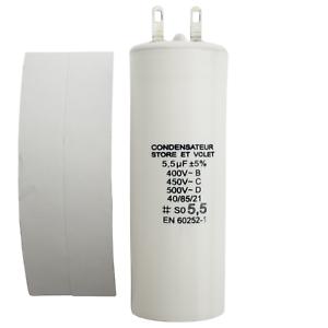 Condensateur 5.5 uF (5,5 µF) pour moteur SOMFY ou SIMU de volet roulant ou store