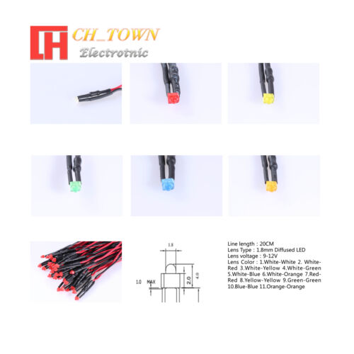 20pcs 1.8mm 2mm LED Lights Emitting Diode 9-12V Pre-Wired Clear Diffused Bulb