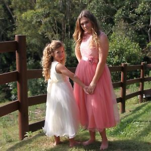 Flower Girl Dress - white Ivory Pink Lace