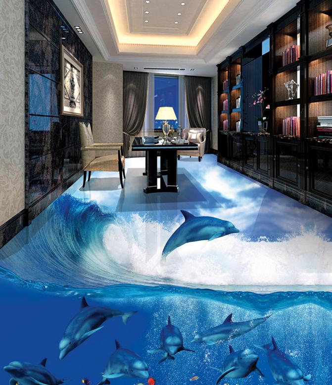 3D Sun Sea Dolphin 4 Floor WallPaper Murals Wall Print Decal AJ WALLPAPER Summer