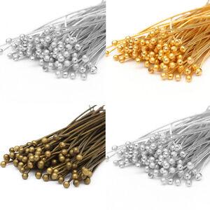 100Pcs-30-40-50mm-Bronze-Gold-Silver-Plated-Metal-Ball-Head-Pins-Ballpins