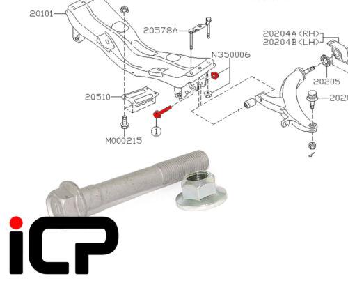 SUBARU IMPREZA 92-14 WRX STi RA Lower Suspension Arm front BOLT KIT FITS