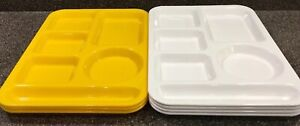 SiLite-614-School-Lunch-Divided-Trays-Set-Of-7-Plastic-Yellow-And-White-USA