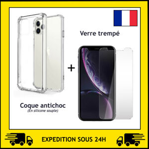 COQUE ANTI CHOC + PROTECTION VERRE TREMPE APPLE IPHONE 12 / 12 MINI / 12 PRO MAX
