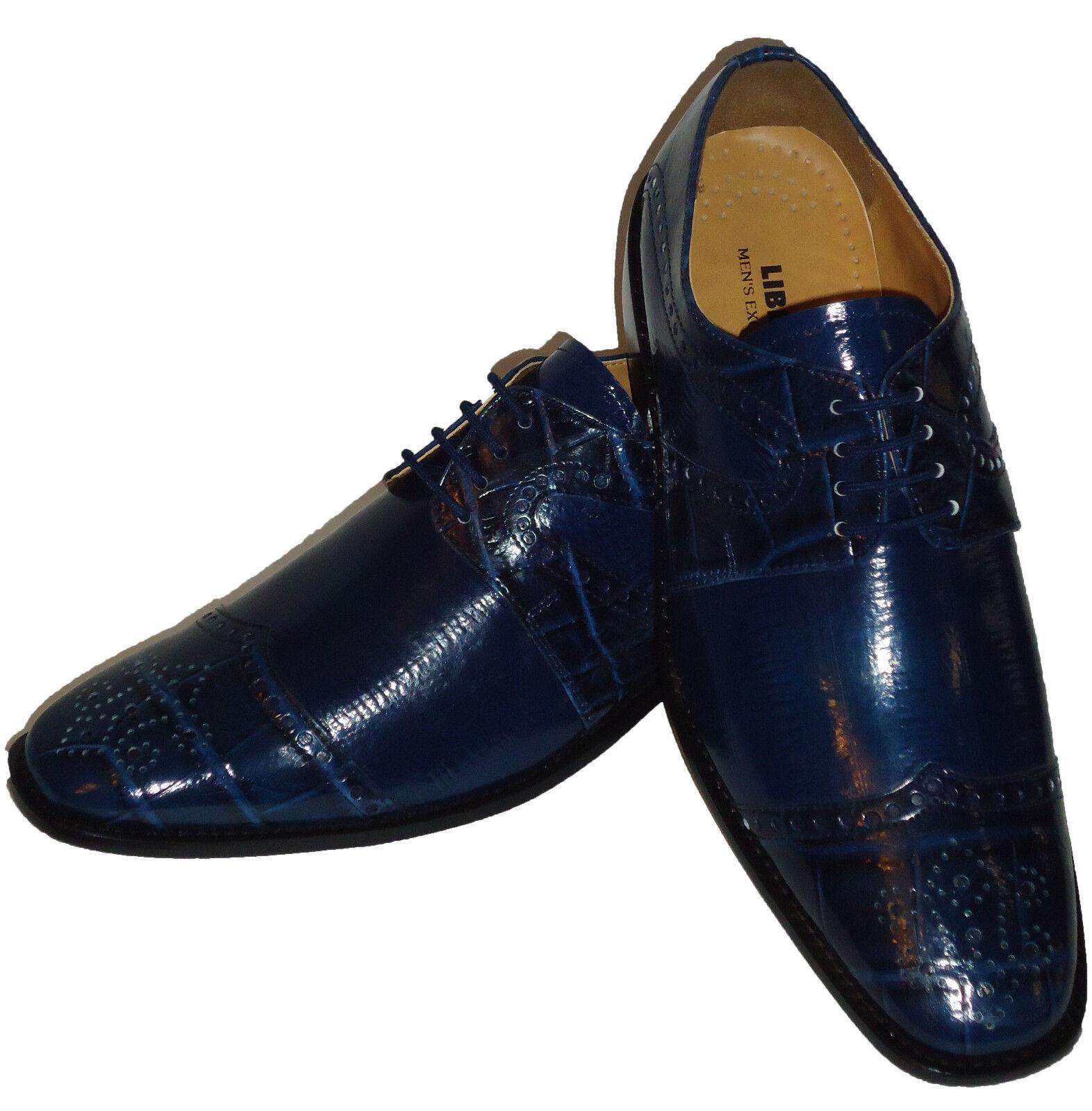 Liberty LS1045 Mens Spectator Fashion Dress shoes Most Elegant Navy bluee