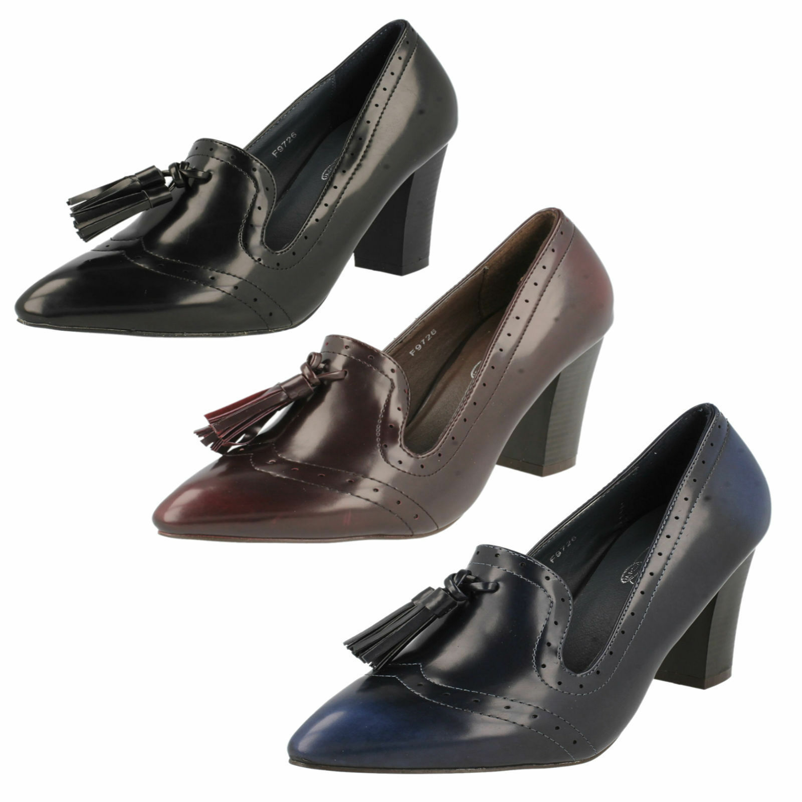 Ladies F9726 synthetic court shoes by Spot On  Sale Was £19.99 Now £9.99