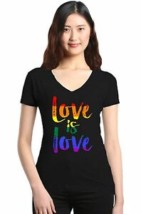 Love-is-Love-Women-039-s-V-Neck-T-shirt-Gay-Pride-Rainbow-Equal-Rights-LGBT-Tee