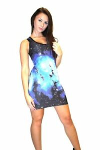 Women-039-s-Unique-Blue-Galaxy-Planets-Space-Print-Long-Vest-Tank-Top-Dress