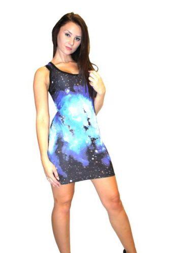 Women/'s Unique Blue Galaxy Planets Space Print Long Vest Tank Top Dress