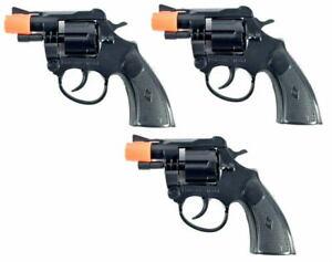 Set of 3 Police Detective 8 Shot Toy Cap Guns
