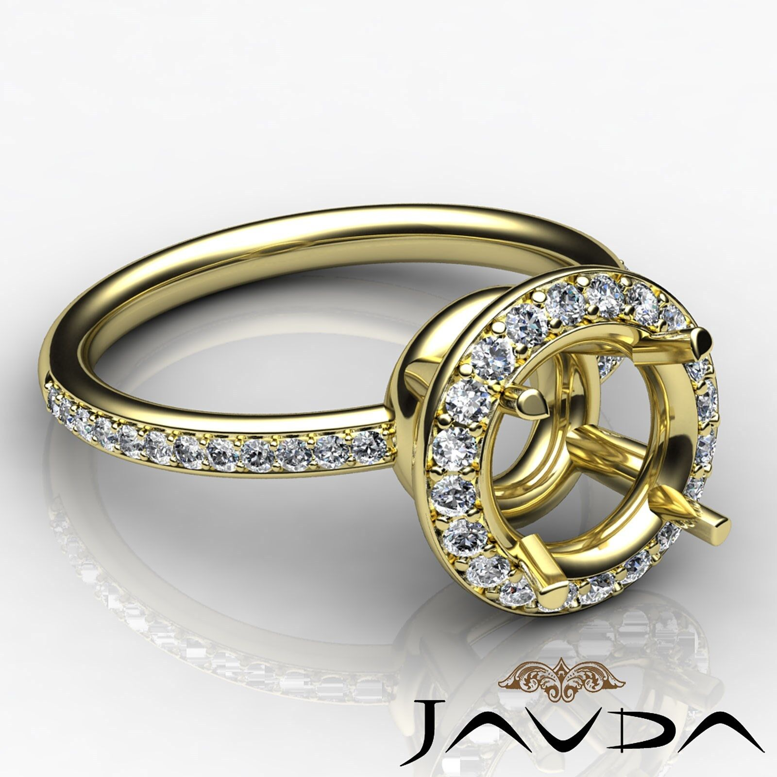 Round Shape Diamond Engagement Semi Mount 0.53Ct Halo Pave Ring 14k Yellow gold
