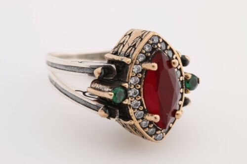 Turkish Reversible Emerald Ruby Jade Topaz 925 Sterling Silver Ring all sizes