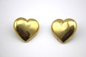 GIVENCHY-Vintage-Gold-Tone-Large-Heart-Pierced-Post-Studded-Earrings-Signed