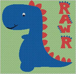 Dinorawr Blanket Dinosaur Throw C2c Graphghan Crochet Pattern Ebay