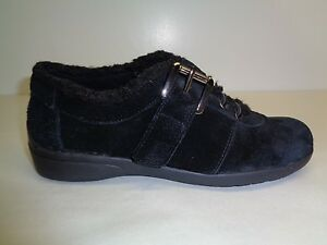 Easy Spirit Size 6 M IDRIS Black Suede Fur Fashion Sneakers New Womens Shoes
