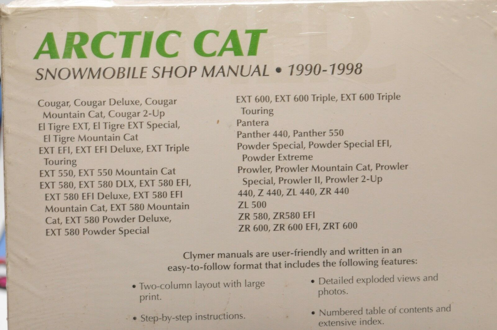 Clymer Arctic Cat Snowmobile Shop Manual 1990 1998 Ebay Wiring Diagram Z440