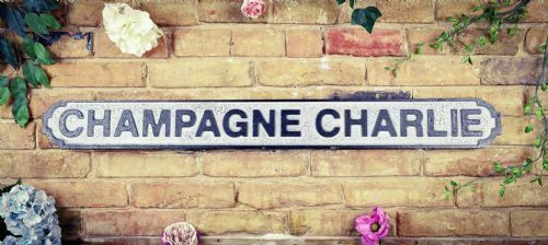 CHAMPAGNE CHARLIE HAND PAINTED WOODEN STREET SIGN VINTAGE