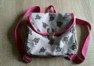 Kinder Tasche Damentasche Rucksack Katze Motiv grau