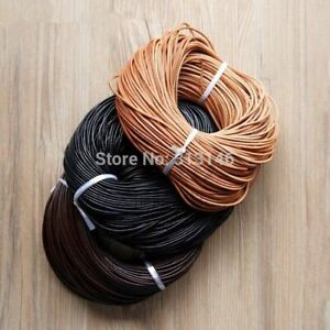 Genuine Leather Cord Round Cord Thong String Dark Jewelry Rope 1/1.5/2/3/4/5 mm