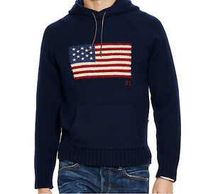 Knitting Pattern Bear Hoodie : Medium Ralph Lauren Polo Bear USA Flag Knit Navy Hooded ...
