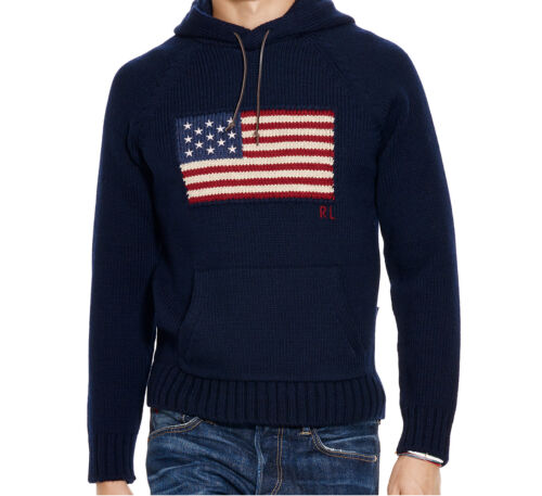American Lauren Polo Knit Navy Hoodie Usa L Ralph Flag Large Hooded Sweater aIn67qxH