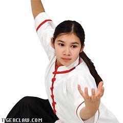 White w Red Trim Kung Fu Uniform Top Sizes 000 to 7
