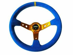 Tyrex-Raptor-4x4-Sports-Steering-Wheel-14-034-Suede-Blue-and-Gold-Racing-Car