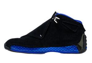 detailed look 538a6 d333d Image is loading Nike-Air-Jordan-Retro-18-BLACK-SPORT-ROYAL-