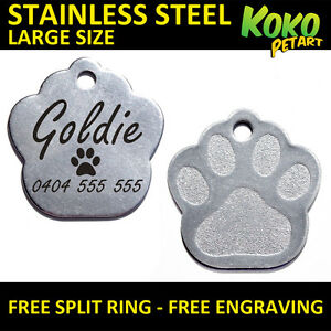 Large-Stainless-Steel-Paw-Pet-Tag-Personalised-Engraving-Dog-Cat-Pets-Tags