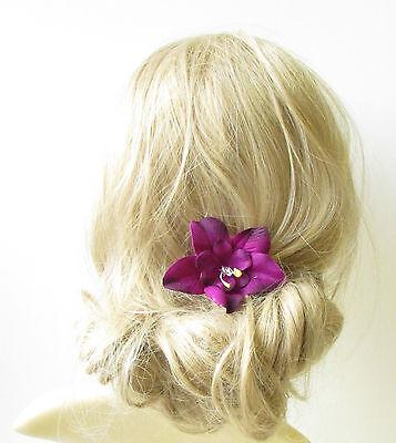 Light Blue Orchid Flower Hair Clip Rockabilly 1950s Vintage Hawaiian Floral 1264