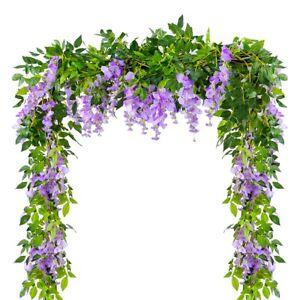 4pcs-Artificial-Flowers-Garland-Fake-Wisteria-Vine-Silk-Hanging-Home-GardenDecor