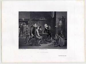 Bauernschenke-Kupferstich-n-Teniers-1820-Genre