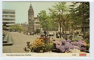 TOWN-HALL-AND-BARKERS-POOL-SHEFFIELD-Yorkshire-postcard-C14434