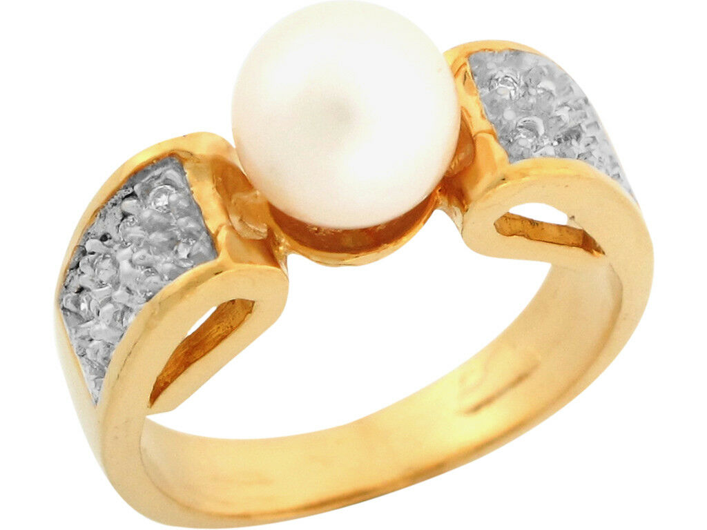 10k or 14k Two Tone gold Freshwater Cultured Pearl White CZ Fancy Ladies Ring