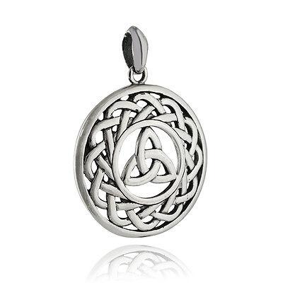 925 Sterling Silver Irish Trinity Large NEW Round Celtic Knot Pendant
