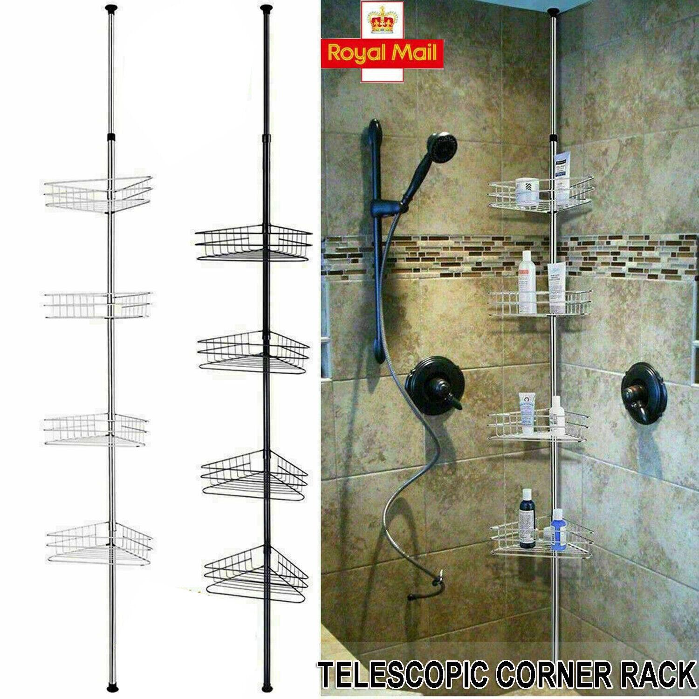 4Tier Non Rust Bathroom Telescopic Corner Shelf Storage Shower Organiser 3 Color
