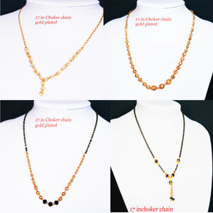 237d2f2b6f1f Image is loading Silver-Gold-Plated-Beaded-Chain-Choker-Necklace-indian-