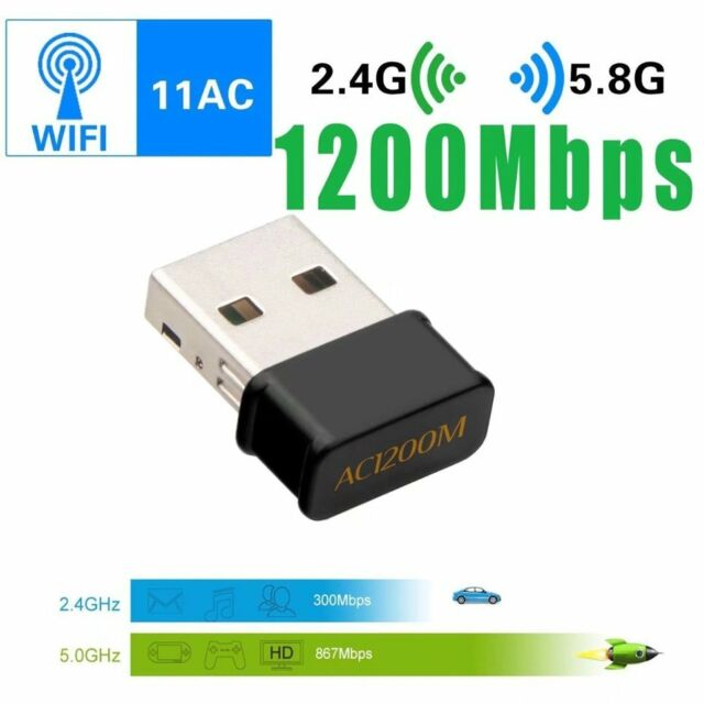 802.11AC 1200Mbps USB Wireless WiFi Adapter Dual-Band Long Range for MAC Win  EZ