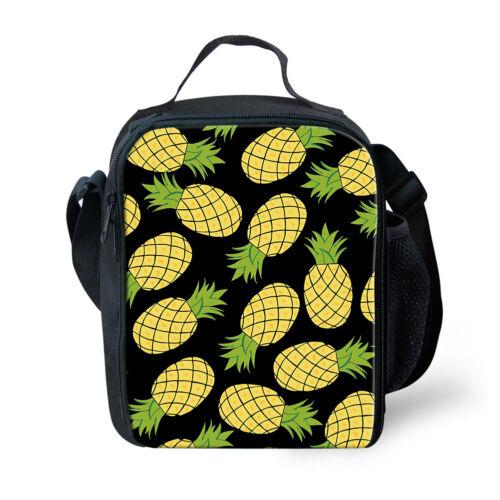 Étudiant École Déjeuner Sacs Pineapple Print Nourriture Picnic Kids Cooler Lunchbox Fourre-tout