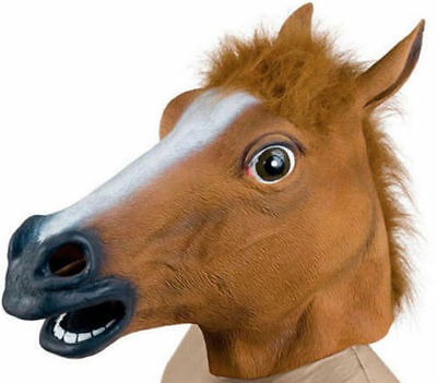 Horse Head Mask Latex Animal Costume Prop Gangnam Style Toys Party HalloweenHP