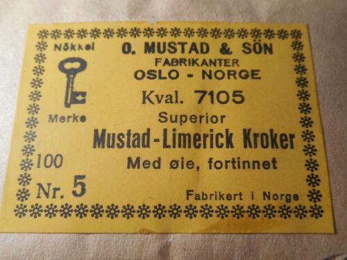 200 MUSTAD HOOKS #5 Fly Tying Limerick Large EYED Tinned NORWAY 7105
