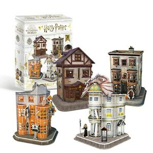 Harry-Potter-Diagon-Alley-Set-of-4-Shops-3D-Puzzles-with-Interior-OFFICIAL