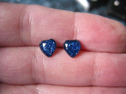 7mm Aretes-Acero-Hipoalergénico-en Caja De Regalo Corazón Azul Glitter