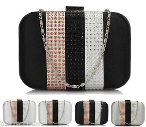 2872abdc53bf Image is loading Womens-Clutch-Purse-Ladies-Diamante-Strips-Celebrity-Style-